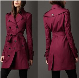 2020 Herbst-neue Marken-Frauen-Graben-Mantel Lange Windjacke Europa Amerika Fashion Trend zweireihiger dünne lange Trench Q1534