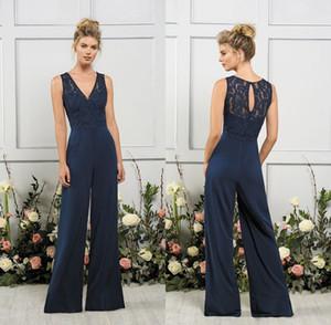 Elegante azul marino oscuro gasa con cuello en V trajes de dama Madre de la novia Novio Novia Mujeres Vestidos de fiesta Pantalón Traje
