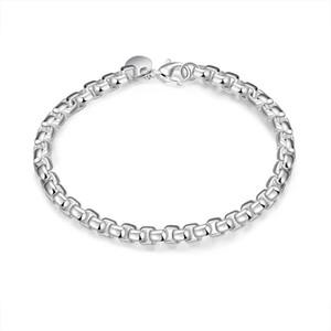 Mode Hommes Femmes Bracelet 925 Sterling Silver Bijoux Fantaisie Bracelet Rond 4mm Boîte Géométrique Bracelet 8 pouces