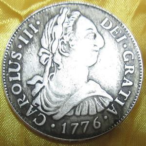 Монеты мира Испания Монеты Каролус III 1776 Серебряные Доллары Archaize Монеты Латунь Посеребренные Монеты \ Оптовая Продажа Бесплатная Доставка