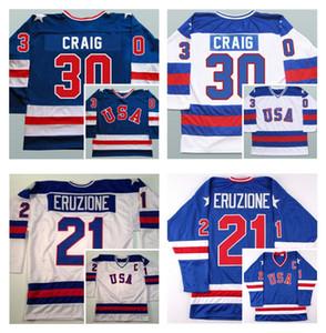1980 미국 하키 유니폼 팀 USA Jim Craig 유니폼 30 Mike Eruzione 21 Jack O'Callahan 17 파란색 흰색 해 레트로 빈티지 100 % 스티치