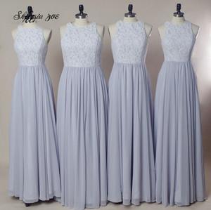 Реальные фотографии платья невесты светло-фиолетовый честь горничной платья Jewel шеи шифон дешевые цена девушка вечерняя одежда