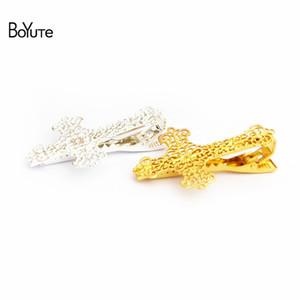 BoYuTe 5 pcs projeto cruz de cobre mens tie tie moda ródio prata ouro tie clip moda jóias