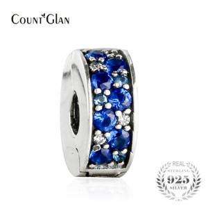 2017 Verano Azul Mosaico Brillante Elegancia Espaciador Clip Beads Fit Pandora Serpiente Charm Bracelets Silver 925 Original Silicone Bead