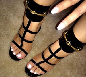 2017 sandalias de verano de lentejuelas de metal mujer atractiva del tobillo sandalias de gladiador correa en el talón delgada corta de cuero hebilla de zapatos de tacón alto, zapatos de vestido de fiesta