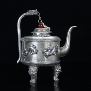 Chinses Antique Tibet Silver Handwork Double Lion Motif W Teiera con manico di drago
