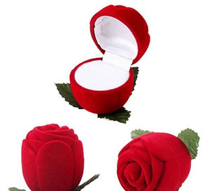 İyi Güzel ve romantik Kırmızı Gül Mücevher Kutusu Alyans Hediye Kutusu Küpe Depolama Ekran Tutucu G199