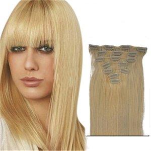 Прямой перуанский зажим в наращивании волос 16 18 20 22 дюймов зажим в человеческих волосах 7 шт. Светлые человеческие волосы с зажимом
