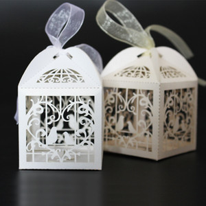 Hot 100 UNIDS Love Bird Boxes Para Wedding Party Favor Caja de regalo de dulces con cinta 2016 Hot