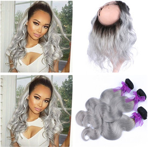 Dark Roots 1B / gris Ombre Full Frontal 360 Band Lace closure pre arrancado con onda del cuerpo Silver Ombre gris Virgin Peruvian Hair Bundles