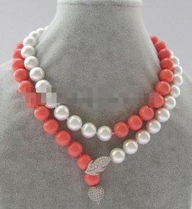 "P6825 -32 ""12mm beyaz + pembe mükemmel yuvarlak güney deniz kabuğu inci necklace-925silver"