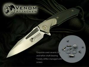 كيفن جون venom مجلد سكين سكين زعنفة M390 بليد تي ألياف الكربون مقبض السكاكين أدوات التخييم في الهواء مع الجلود غمد