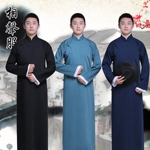 Новое поступление мужской Cheongsam китайский стиль костюм хлопок человек мандарин куртка длинный платье традиционный китайский костюм Тан платье Этническая одежда