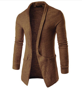 Tricoté Sweat-shirt Manteau Hommes Grand Turn Down Col Cardigan Poches Conception Couleur Unie À Manches Longues Mens Long Pull Gratuit Ship 2018
