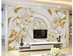 Высокая-класс белый трехмерный цветок росписи 3D обои 3D обои для ТВ фоне