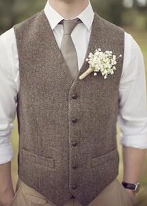 Chalecos de tweed de espiga de lana marrón de marca 2019 Chaleco de traje para hombre por encargo Chalecos de novio delgados Chaleco de boda vintage Chaleco británico de talla grande