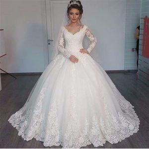 Lindo decote em V vestido de baile de manga longa vestidos de noiva 2020 Lace Applique casamento branco vestidos de robe de mariage