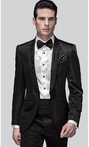 Classic Style Groom Tuxedos Groomsmen One Button Black Shawl Collar Best Man Suit Wedding Men's Blazer Suits (Jacket+Pants+Girdle+Tie) K261