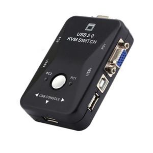Freeshipping جديد 2 ميناء VGA USB KVM التبديل الفاصل السيارات تحكم لوحة المفاتيح ماوس الطابعة تصل إلى 1920 * 1440