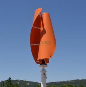 400 W 12 V / 24 V Dikey Eksen Helix Fırıldak Jeneratör VAWT Jeneratör Düşük RPM Jeneratör Ev Rüzgar Türbini + Şarj Regülatörü