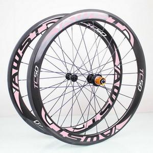 AWST 핑크색 데칼 700c 카본 휠셋 50mm 완전 카본 자전거 휠 세라믹 베어링 허브가있는 23mm 폭 V 브레이크 카본 사이클링 휠