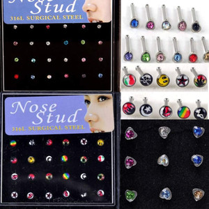 144 Pcs lot 316L Stainless Steel Womens Body Jewelry Nose Studs Nose Ring Body Piercing