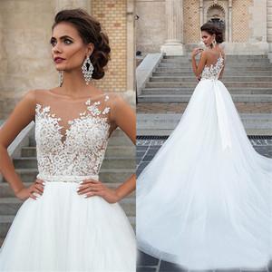 Un cordón de la vendimia Appliqued Línea moldeados de los vestidos viste de novia atractivo más nuevo del escote redondo vestidos de novia sin mangas