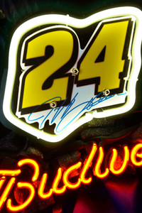17*14 inches New Tat tire Neon Beer Sign Bar Sign Real Glass Neon Light Beer Sign IF 011-Budweiser-Nascar