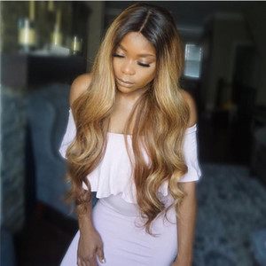 brazilian Ombre Full Lace 1B 27 Wigs 130-180 Density Body Wave Long hair lace front Wig With Bleached Knots free part hair