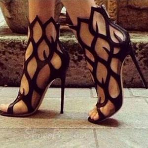 Estate Moda Donna Tacchi Alti Sandali Hollow Fire Discoteca Tacchi a spillo in pelle nera pesce scarpe sexy cut-out party dress scarpe