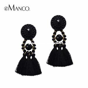 e-Manco Bohemia Long Tassel Hanging Dangle Drop Earrings for women Black Crystal Statement Ethnic Earring bijouterie Jewelry