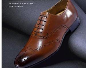2017 novo dos homens Vestido Oxfords sapatos masculinos feitos à mão sapatos artesanais Genuíno couro de bezerro semi brogue sapatos