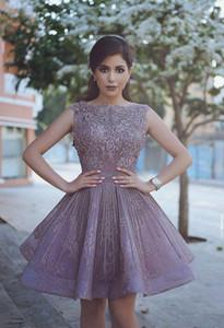 Purple Arabic Dubai Said Mhamad Short Cocktail Dresses Sheer Crew Beads Sequins Neck Appliques Short Prom Homecoming Dresses