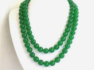"""Bella elegante lunga 32 """"10mm collana di perle di giada verde naturale con pietre preziose"""