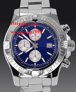 Hombres Reloj de alta calidad 48mm Hermosa dial azul pulsera de acero inoxidable A13370 LVK Cuarzo de cuarzo cronógrafo Working Mens Watch Watche