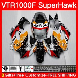 Body For HONDA VTR1000F SuperHawk 97 98 99 00 01 02 03 04 05 91HM1 VTR 1000F 1997 1998 1999 2000 2002 2003 2004 2005 Fairing Repsol orange