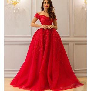 Superbe robes de soirée étage longueur décolleté chérie dentelle appliques perles perles une ligne robes de bal rouges arabe 2017