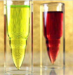 طبقة مزدوجة الزجاج رصاصة كوب واضح البيرة القدح تصاميم اكسسوارات المطبخ الفودكا ويسكي النبيذ الأبيض بار النبيذ نظارات KKA1867