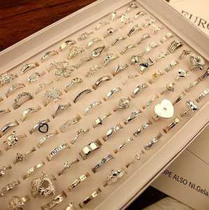 20 stili Argento Diamond Lovers Ring Wedding Jewelry Band Anello di alta qualità spedizione gratuita