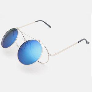 Up lentes vintage clamshell рамка круглые металлические прозрачные флип очки pun men reampunk Женщины солнцезащитные очки объектив сливочные стекла солнечные очки tmidg