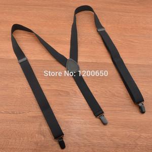 Wholesale-3 Clip Hosenträger Fashion Solid Black 110 120cm Leder Unisex Hosenträger Frauen Herren Hosenträger Für Hosen Elastische Gürtel Straps