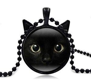 2017 Yeni Siyah Kedi Kolye Kedi Yüz Kolye Kedi Kulak Takı Kızlar Cam Cabochon Kolye AA121