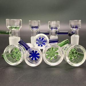 Herb Slide 14mm 18mm Ciotole in vetro Ciotola con filtro a fiocco di neve a colori con schermo a nido d'ape Ciotola per fumatori con tabacco rotondo per bong in vetro Dab Rig