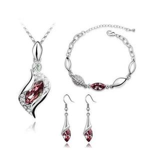 Rhinestone Pendant Necklaces Fashion Jewelry Sets Austria Zircon Crystal Necklace+Earrings+Bracelet Set Women Jewellry