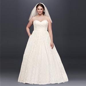 Vestidos de novia de una línea Nuevo encantador diseño de encaje de encaje vestidos de novia abiertos Back Cort Court Train Plus Tamaño Vestidos 9WG3829