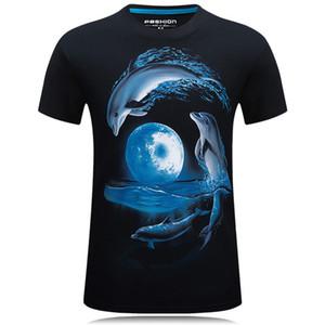 Magliette del progettista hip-hop del cotone del delfino per gli uomini Manica corta delle magliette degli uomini della maglietta di sport 3d le magliette di marca del camuffamento del mens che progettano i vestiti firmati