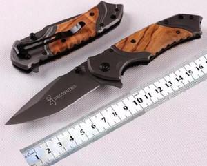 Browning X49 Cuchillo táctico plegable Cuchilla de acero Mango de madera Cuchillos de supervivencia de titanio de bolsillo Cuchillo de caza Herramienta de pesca EDC, Envío gratis