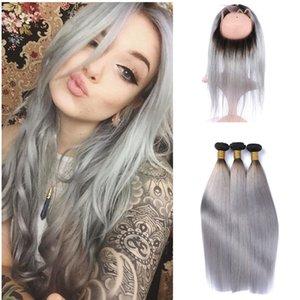 Dos tonos 1b paquetes de cabello humano gris con 360 Frontal de encaje frontal de seda recto Ombre 360 frontal de encaje con pelo Wevea 4pcs