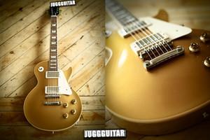 Custom Shop Gold Standard Top Goldtop guitarra elétrica Wihte corpo de ligação Branca Pickguard mãe branca do Pearl trapezoidais Fingerboard Inlays