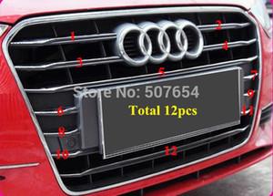 Yüksek kalite paslanmaz çelik 12 adet araba Ön ızgara dekorasyon parlak trim, Audi A3 2014-2016 için ızgara çıkartmalar